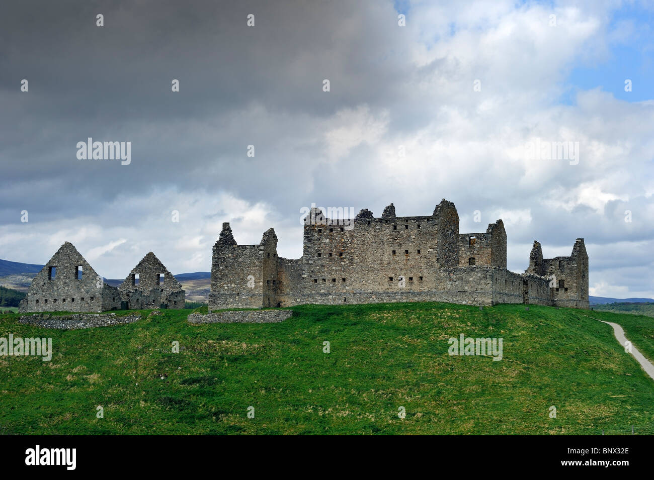 Ruins of Ruthven barracks, built in 1719 after the 1715 Jacobite rising, near Kingussie in the Highlands, Speyside, - Stock Image