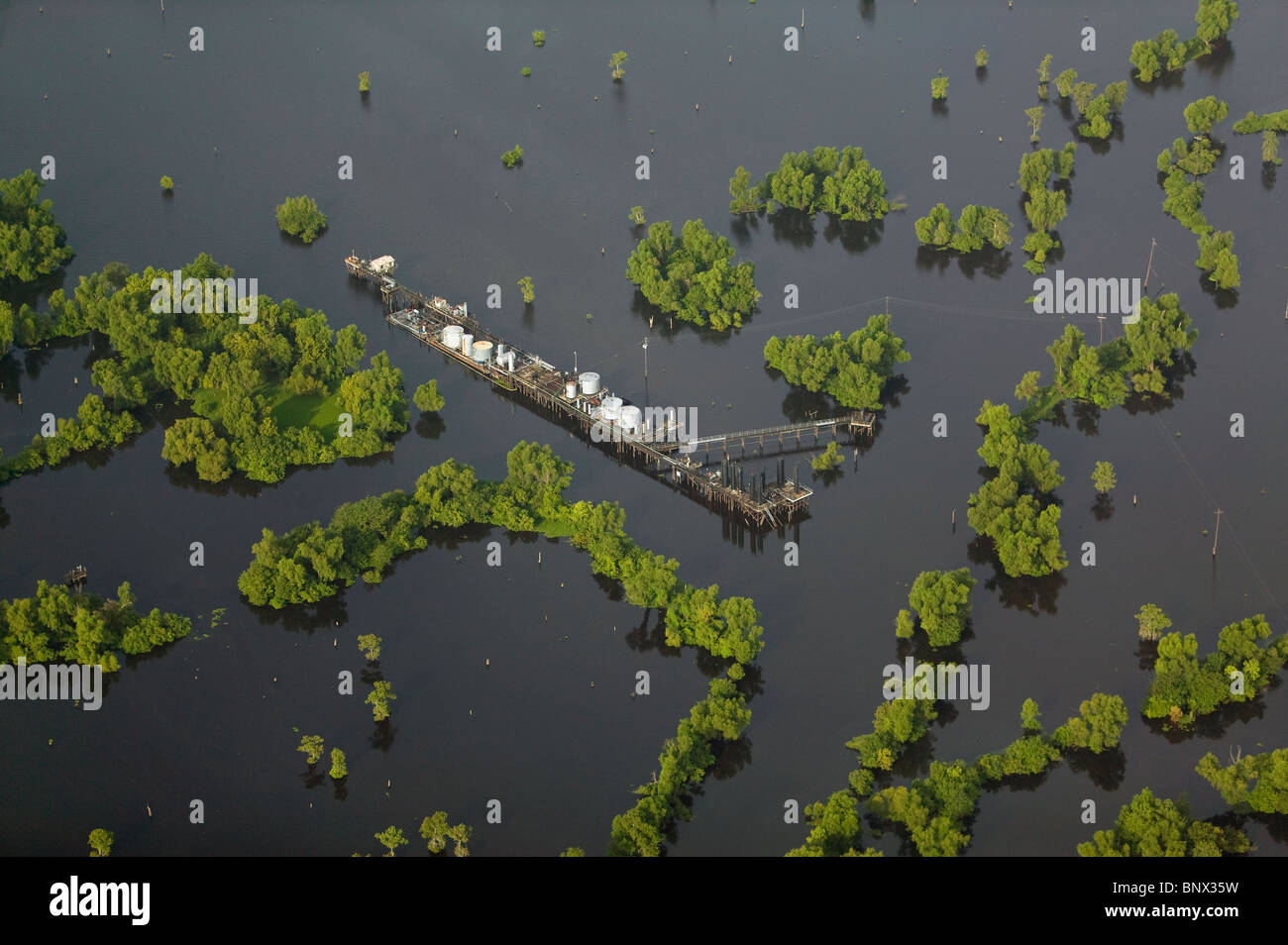 aerial view above natural gas extraction Louisiana - Stock Image