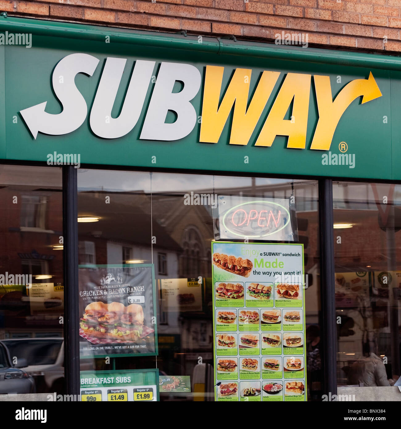 Subway restaurant in Hereford City, UK. Subway sandwich shop. - Stock Image