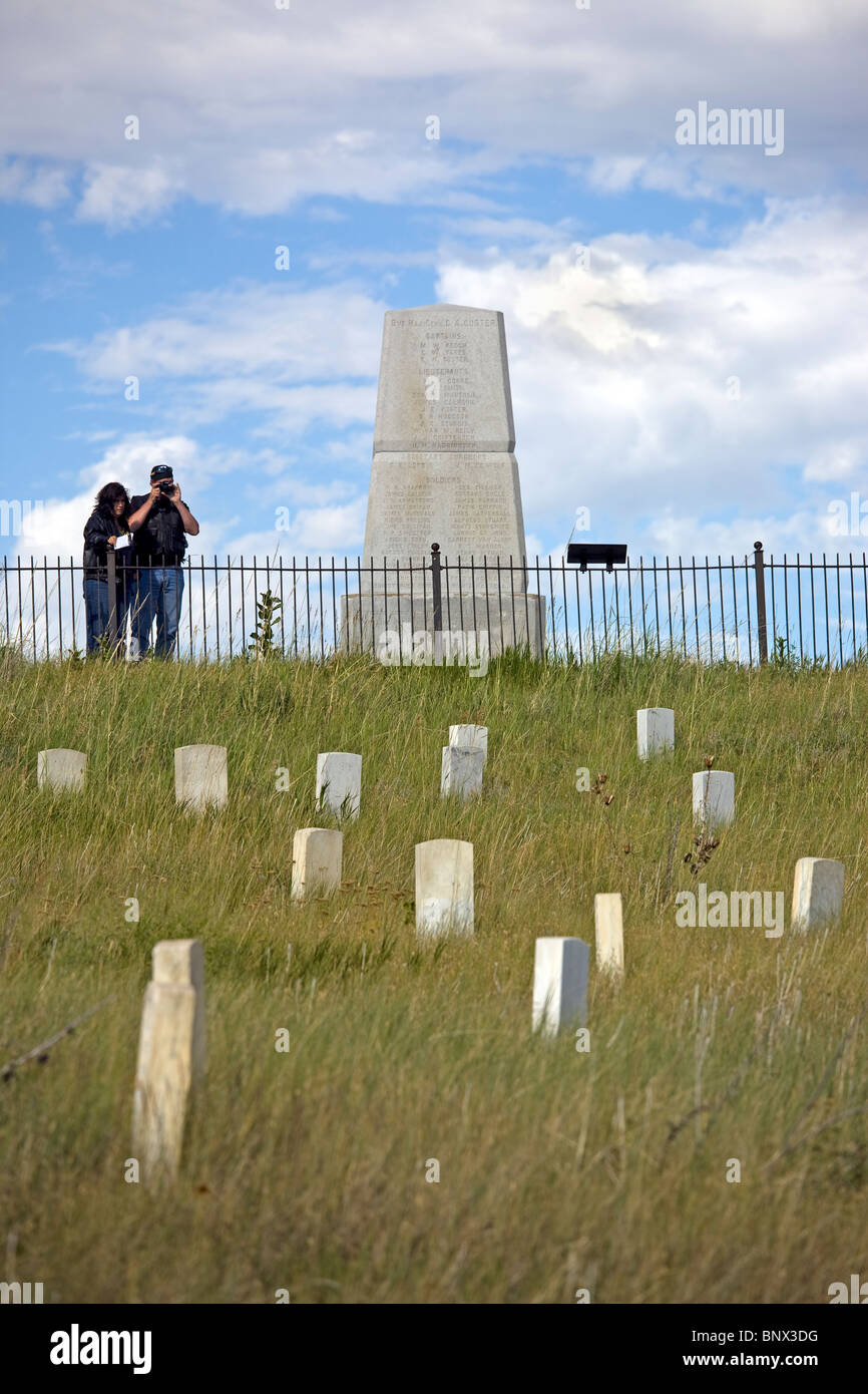 Markers on the spots where American soldiers were killed at Little Big Horn Battlefield National Monument, Montana. Stock Photo