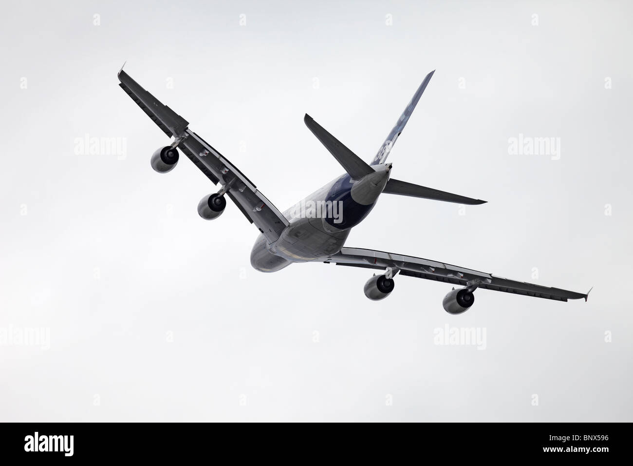 Farnborough Airbus industries A380 below - Stock Image