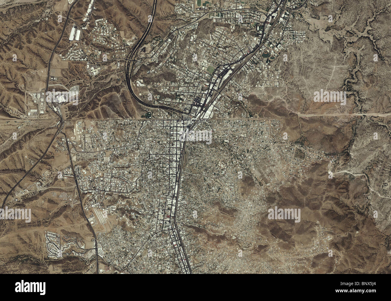 aerial map view above Mexican American border Nogales Arizona Mexico