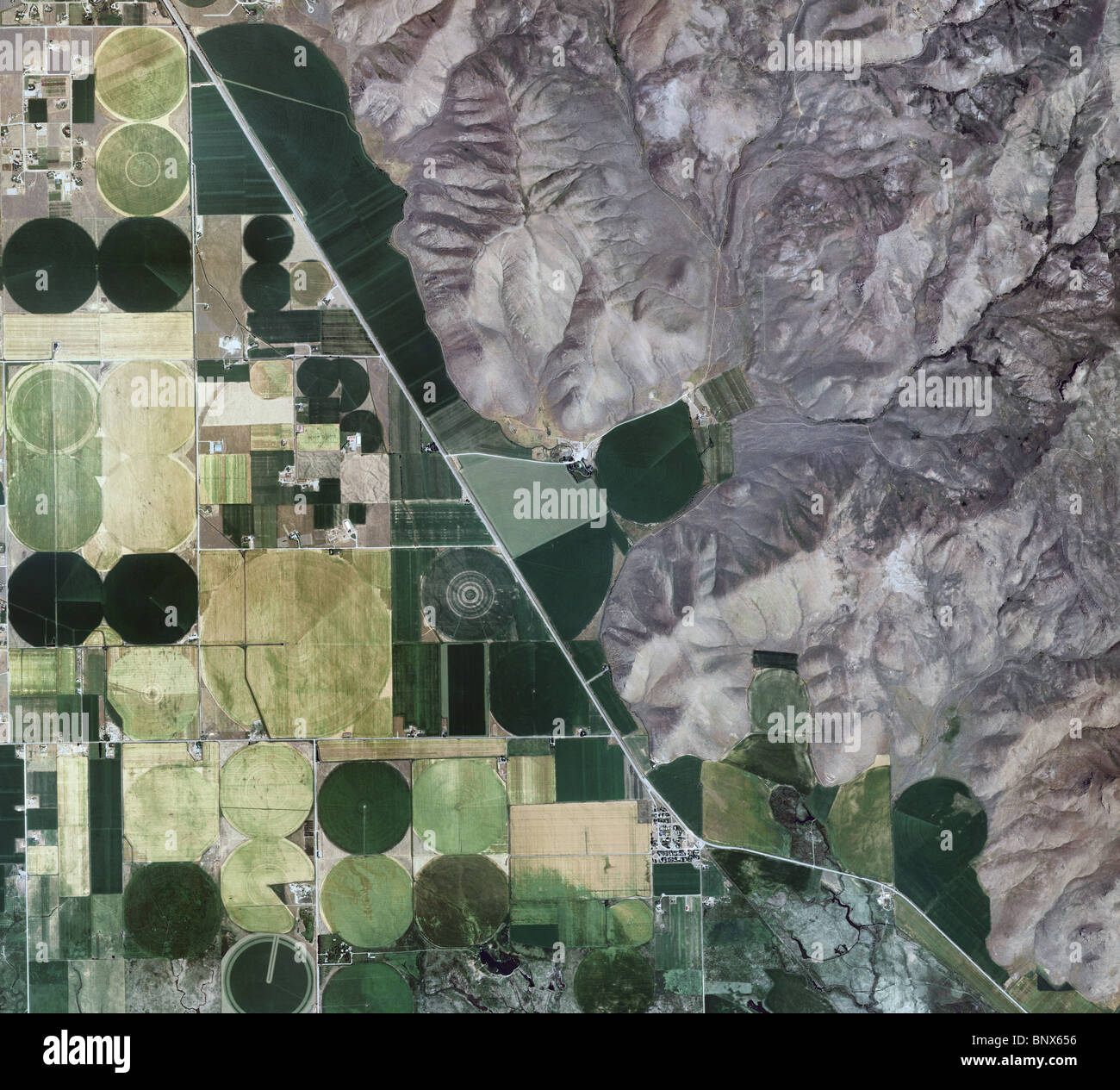 aerial map view above farming river valley Blaine county Idaho Stock