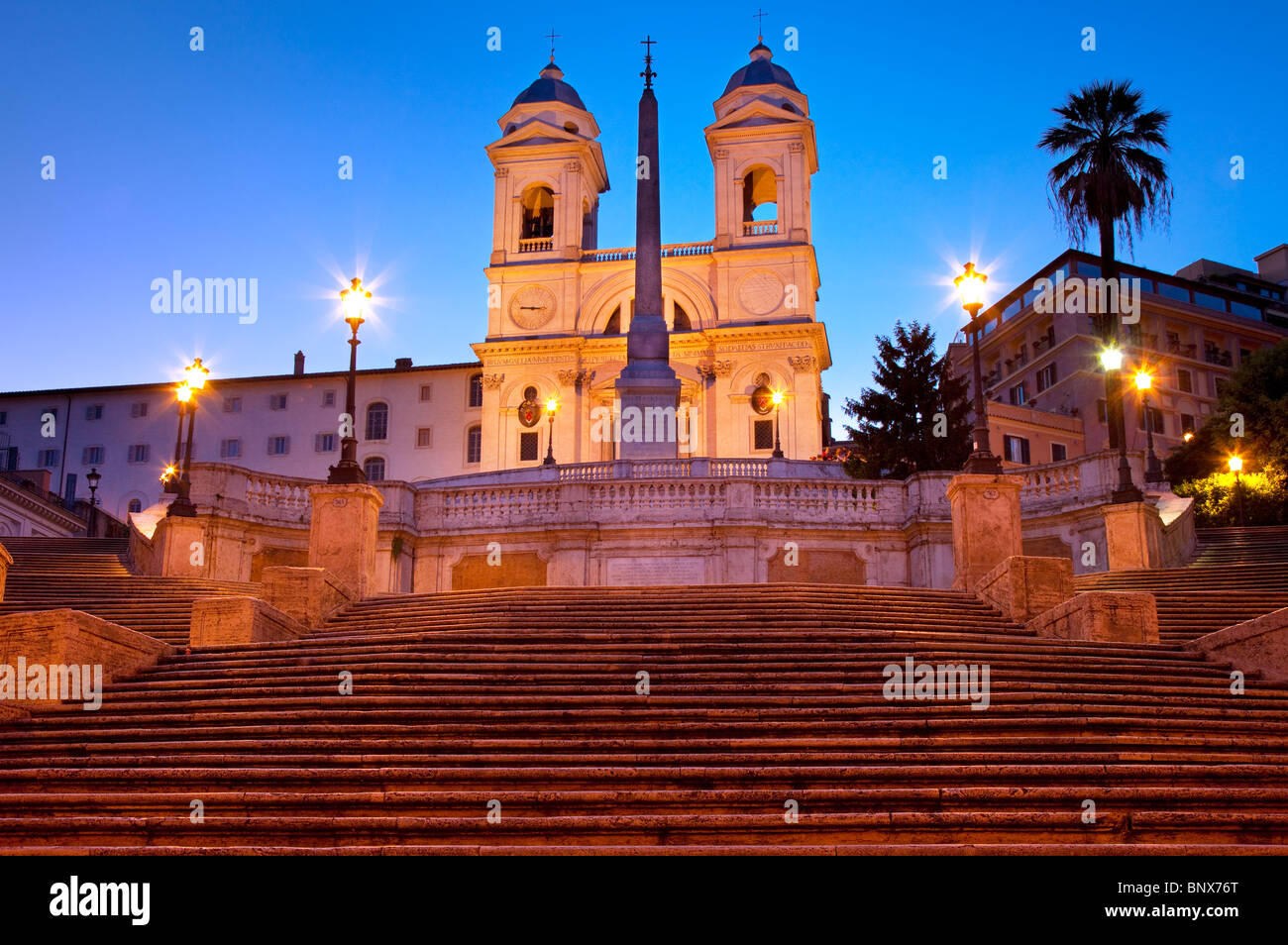 Just before dawn at the Spanish Steps with Trinità dei Monti beyond, Rome Lazio Italy - Stock Image