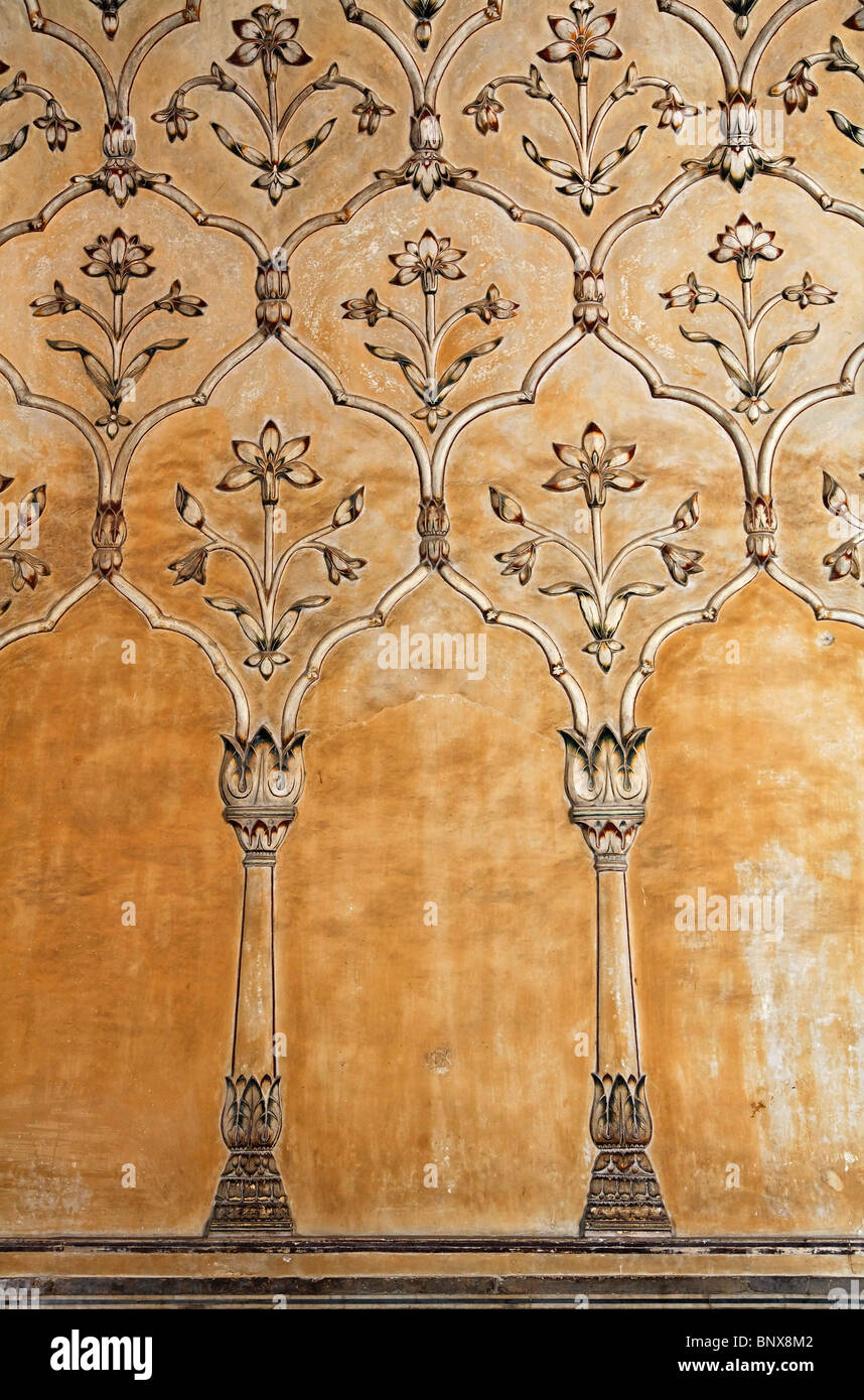 Pakistan - Punjab - Lahore - Wall decoration at the Badshahi mosque - Stock Image