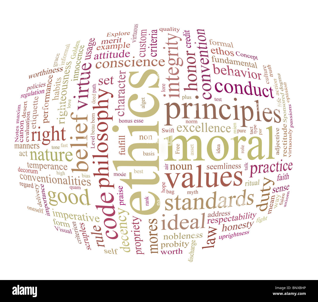 ethics and morales word or tag cloud - Stock Image