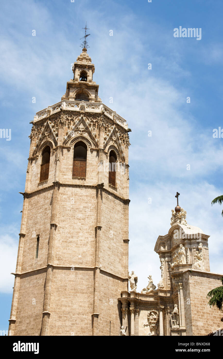 El Miguelete, the gothic bell tower of Valencia Cathedral in Spain Stock Photo
