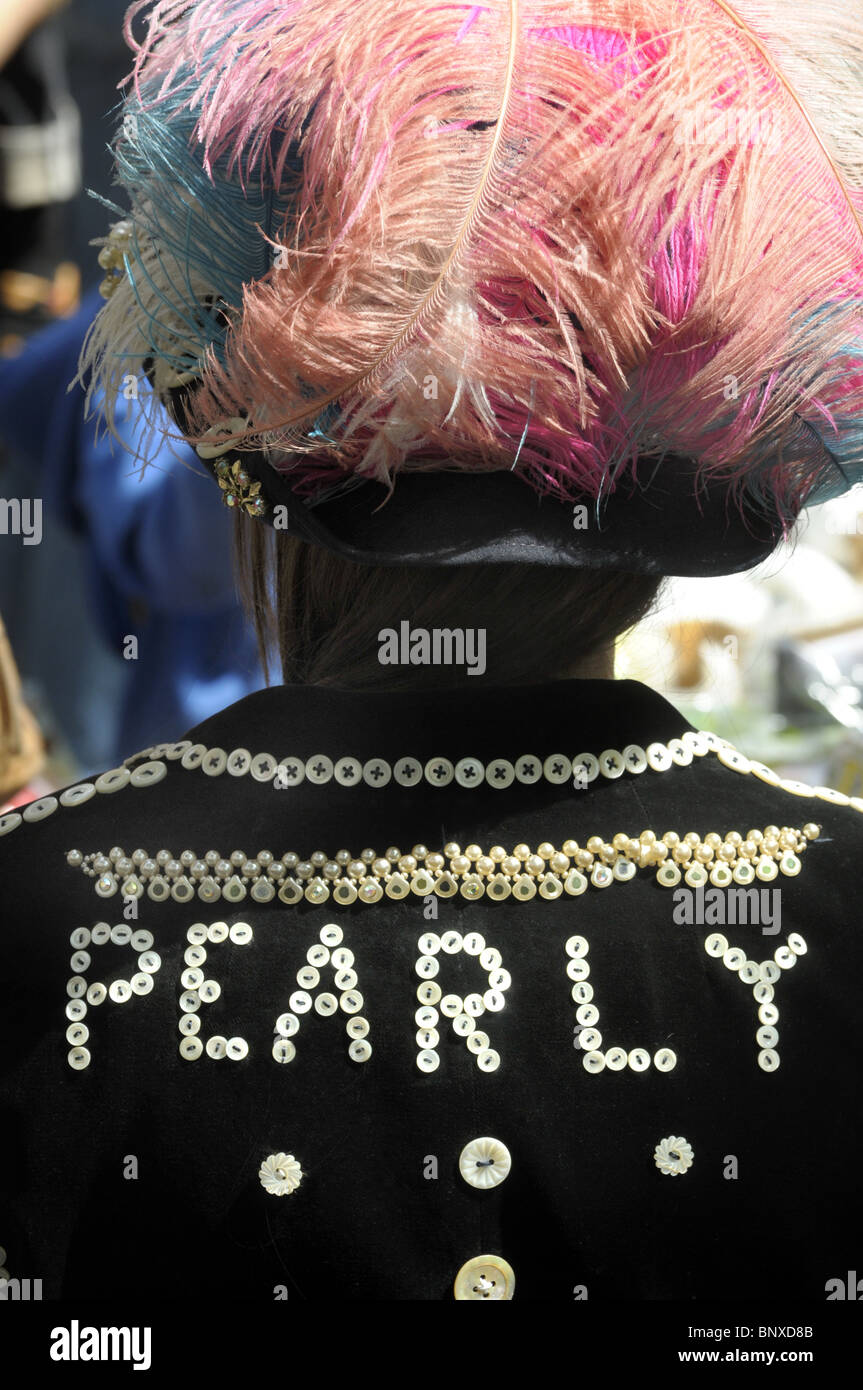 Pearly Queen At The May Fayre At St Paul's Church In Covent Garden London - Stock Image