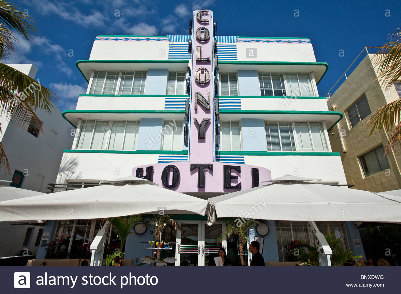 Colony Hotel, Art Deco Hotel, Ocean Drive, South Beach, Miami, Florida, Usa - Stock Image