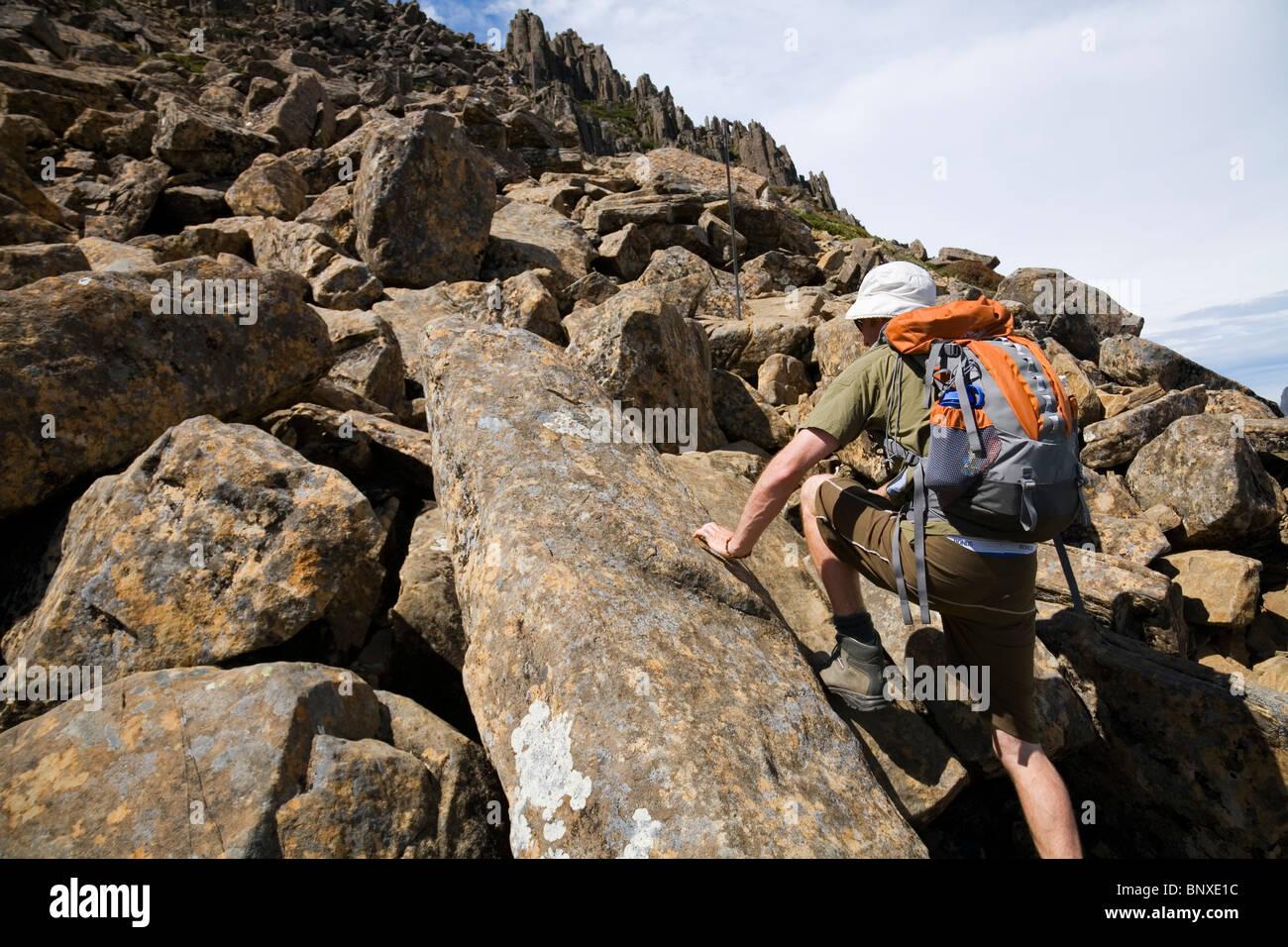A hiker on the Cradle Mountain summit trail. Cradle Mountain-Lake St Clair National Park, Tasmania, AUSTRALIA - Stock Image