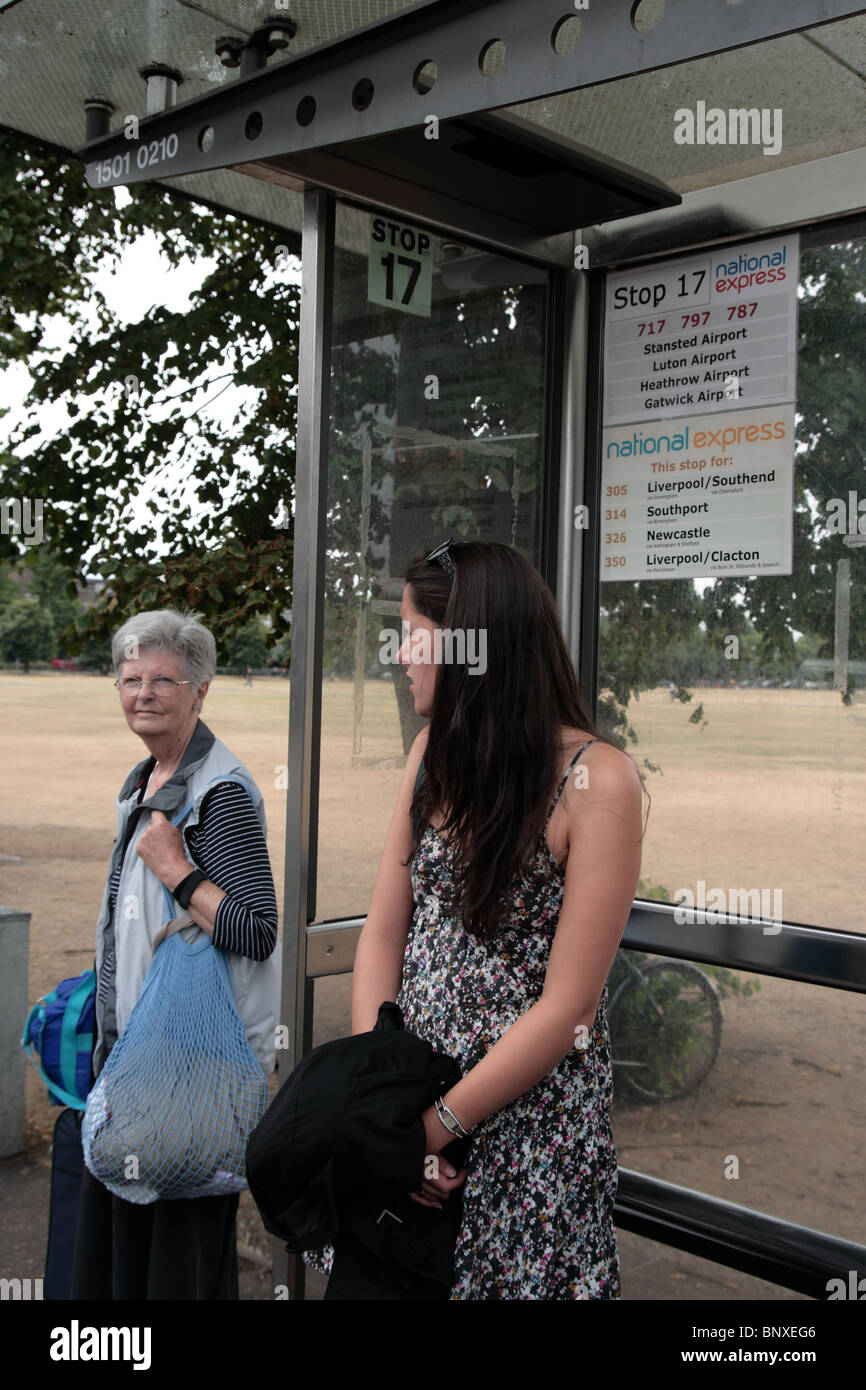 Waiting for a bus - Stock Image