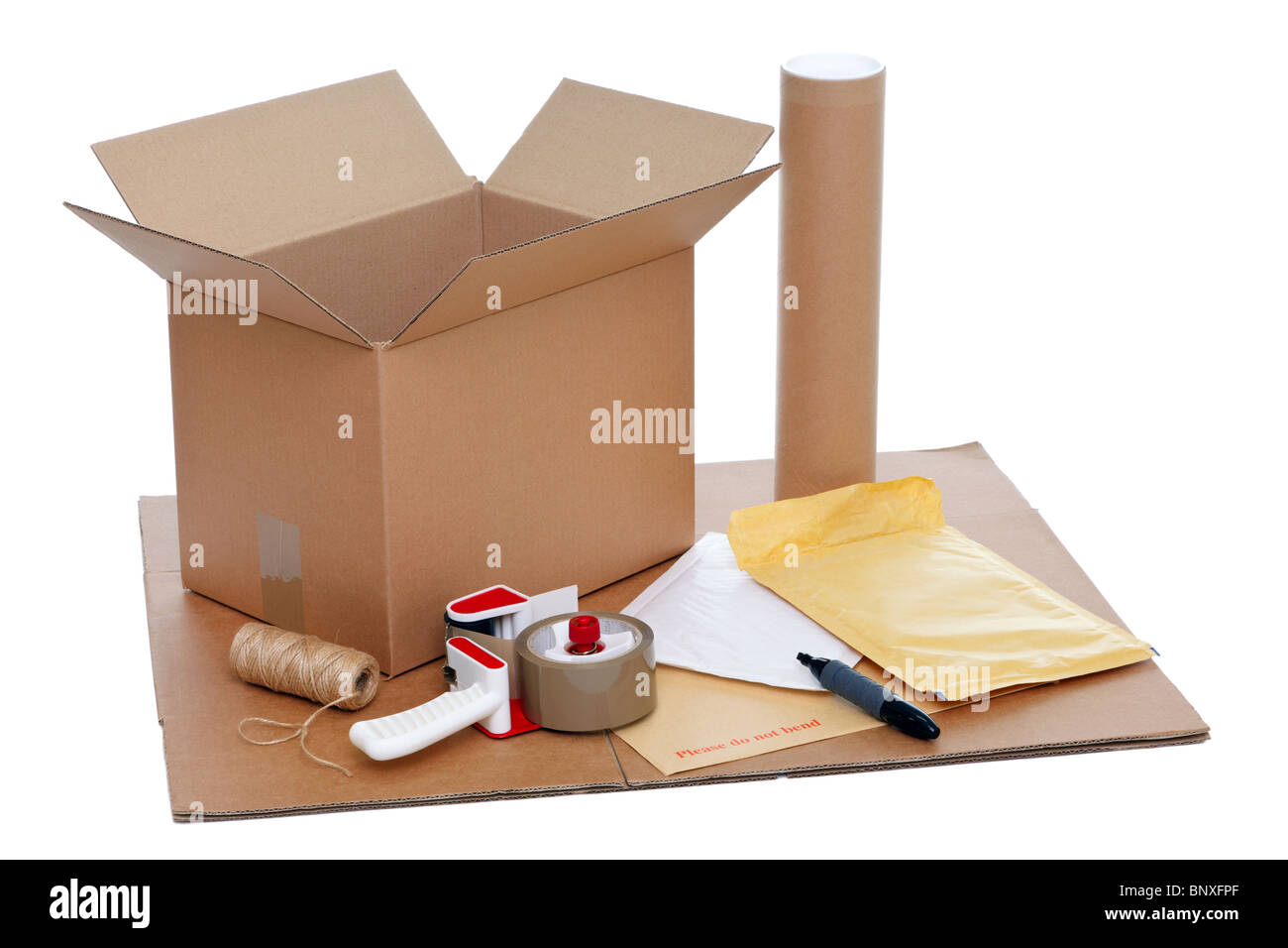 Photo of packaging items isolated on a white background. - Stock Image