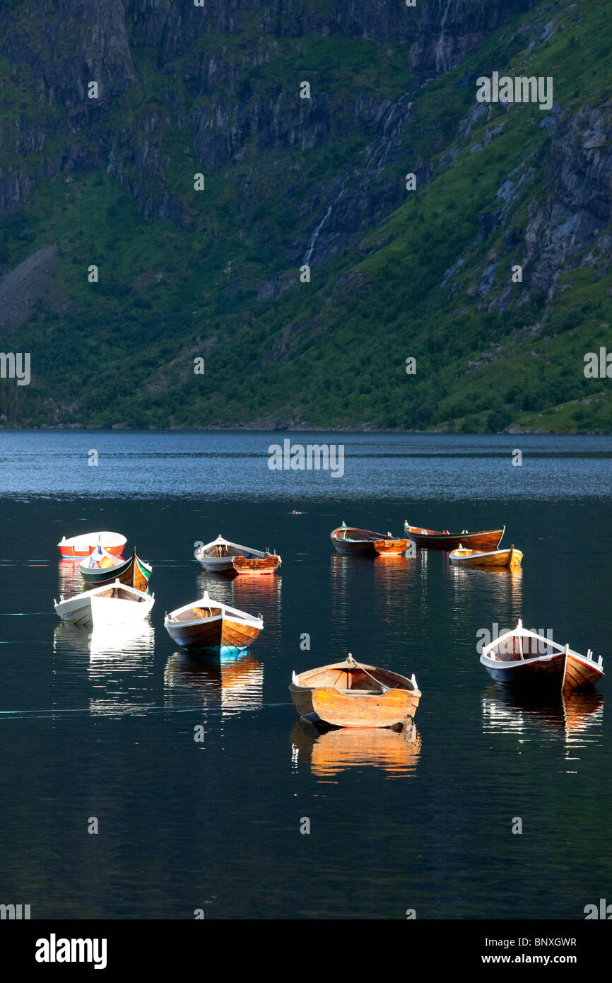Wooden rowing boats, Lofoten islands, Norway - Stock Image