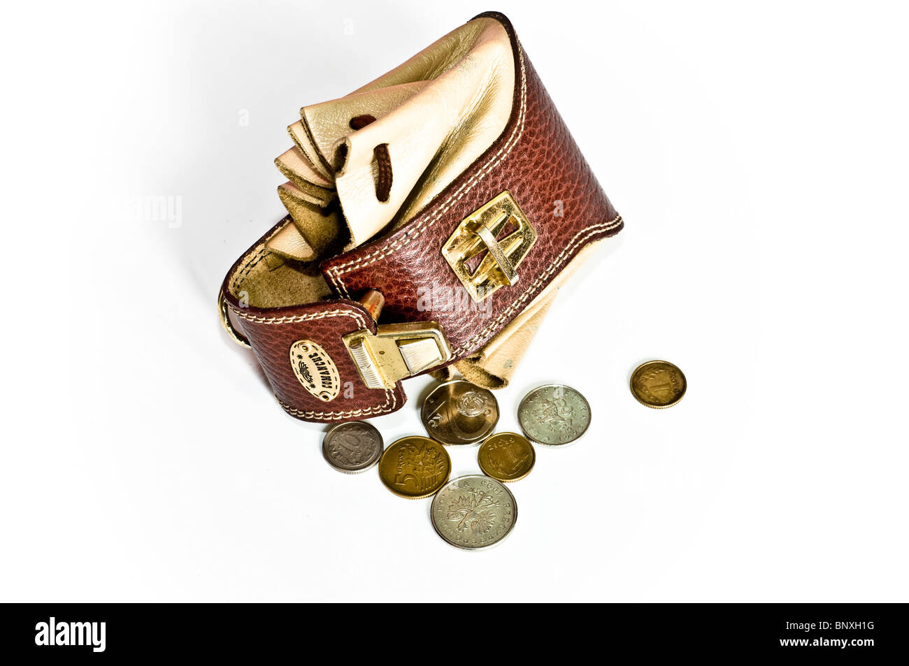 Leather pouch with money isolated on white background - Stock Image