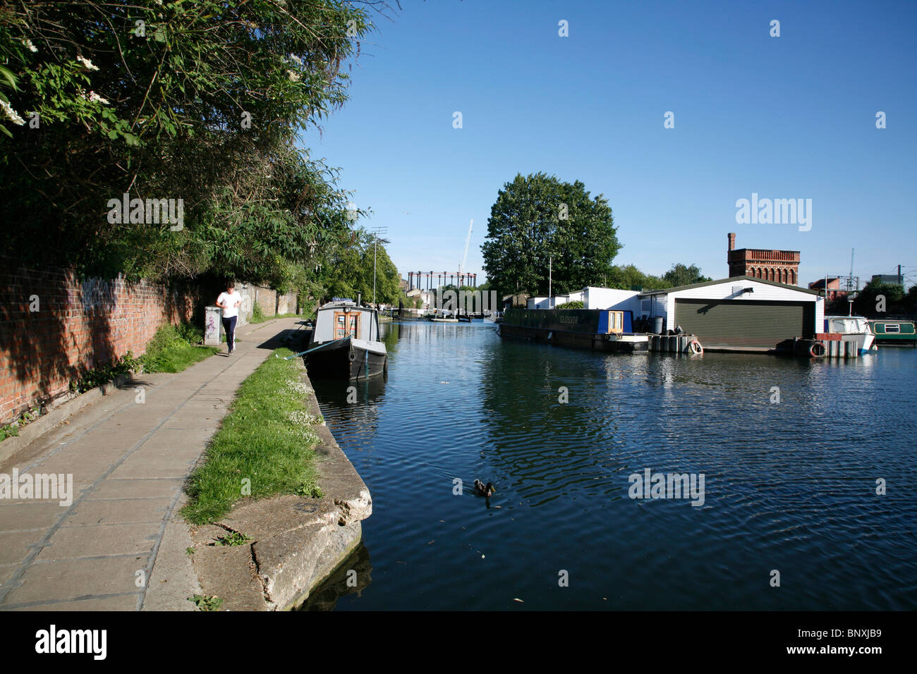 Looking along Regent's Canal to St Pancras Lock, St Pancras, London, UK - Stock Image