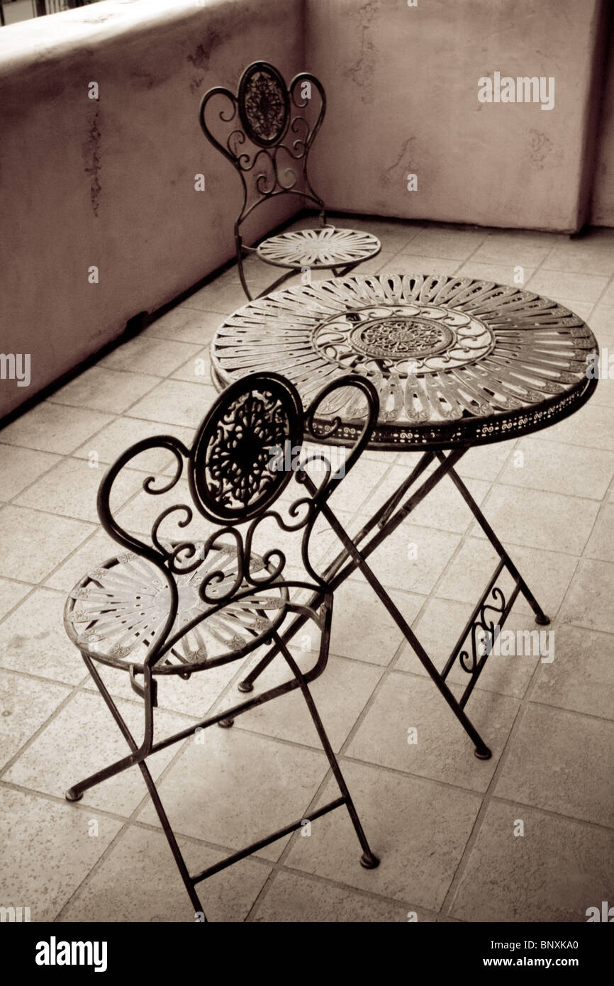 Vintage Antique Iron Table and Chairs - Stock Image