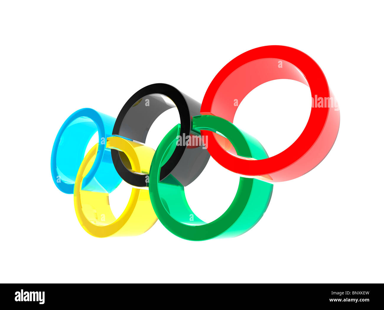 Olympic rings symbol isolated on white background 3D illustration - Stock Image