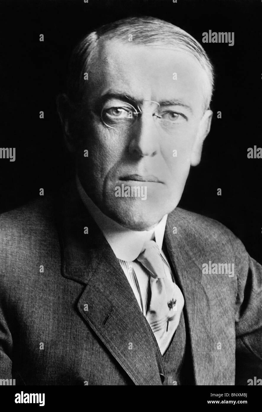 Portrait photo circa 1916 of Woodrow Wilson (1856 - 1924) - the 28th US President (1913 - 1921). - Stock Image