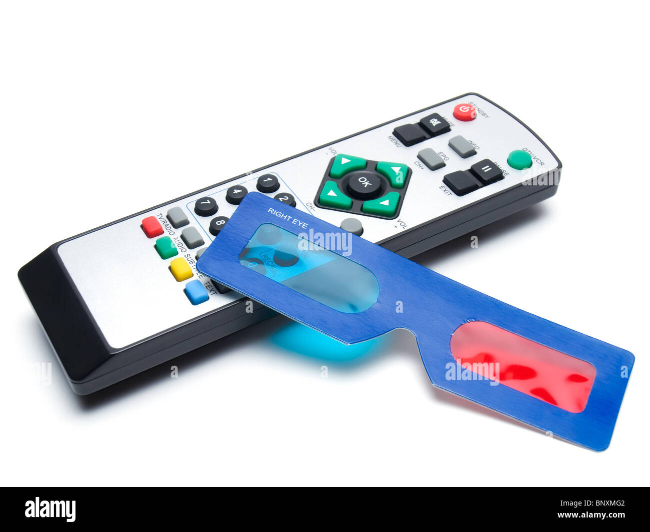 Main accessories for watching 3D multimedia or television. - Stock Image