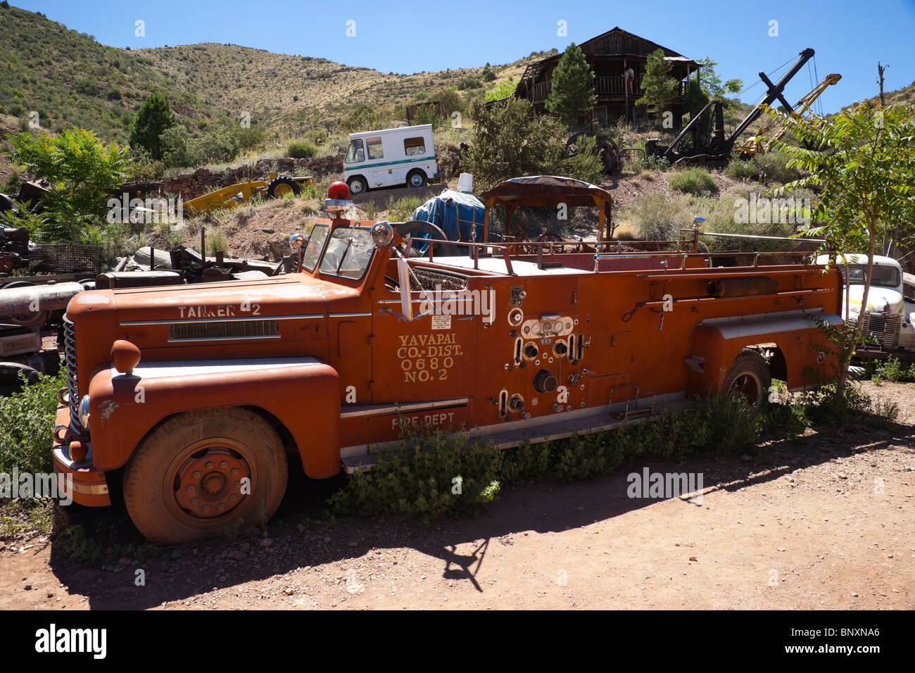 Don Robertson's Gold King Mine ghost town and antique auto yard. Fire tender. Stock Photo