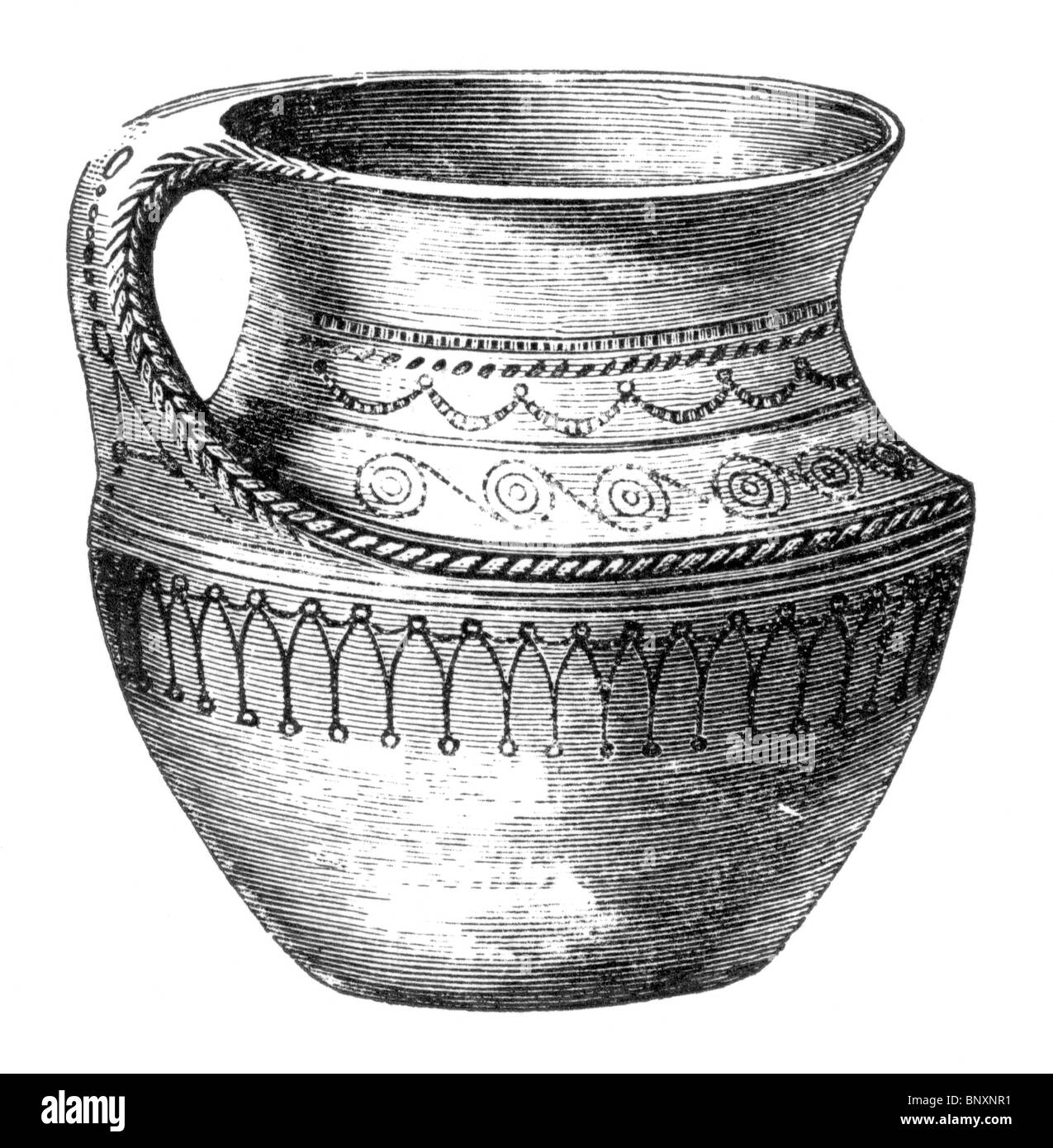 Black and White Illustration of a 8th of 9th century Scandanavian Earthenware Ewer - Stock Image