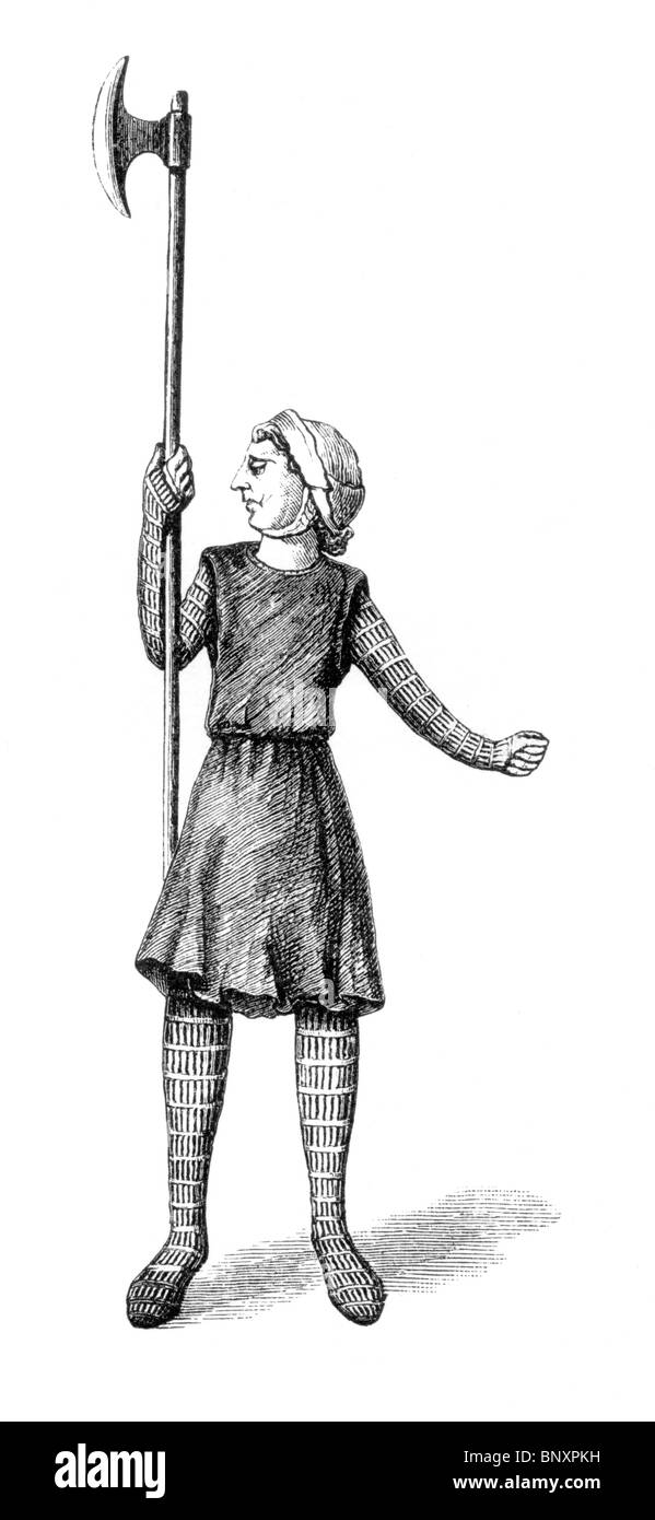 Black and White Illustration of a 9th century soldier from the Mac Durnan Gospel; - Stock Image