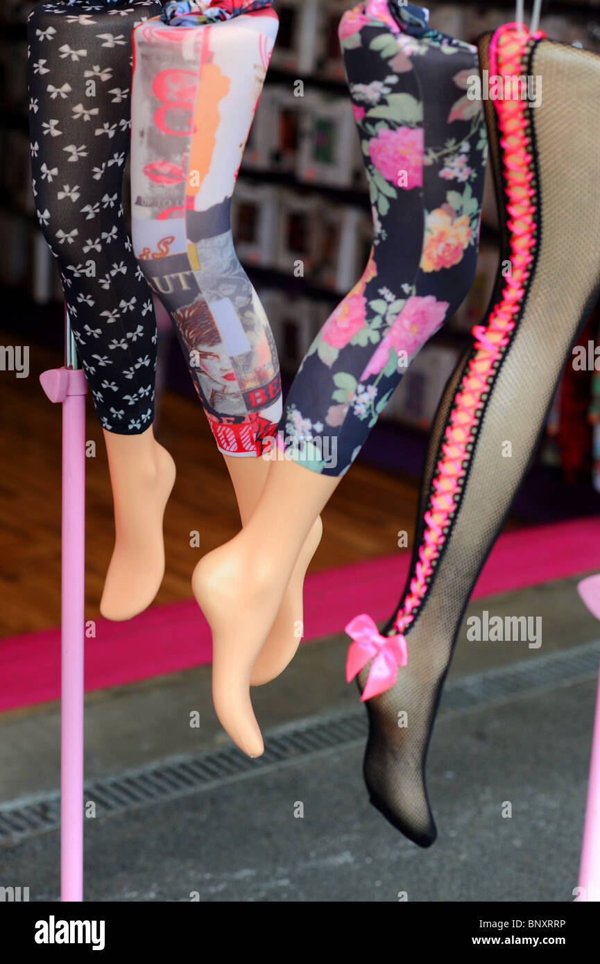 9d7aac870a7 Dummies displayed wearing patterned colored stockings. Camden market