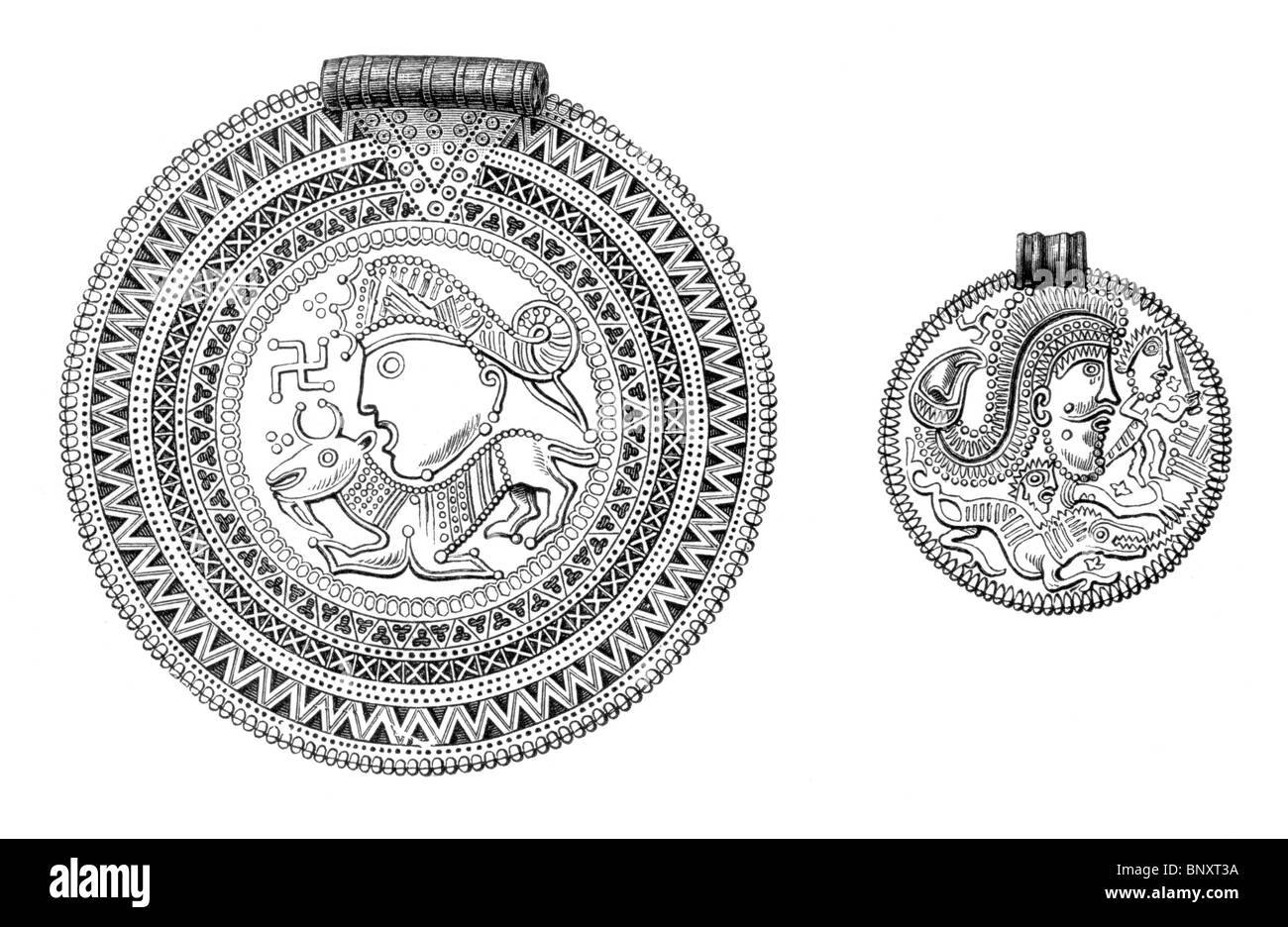 Black and White Illustration of Bracelets representing northern divinities; Viking or Danish Artifacts Stock Photo