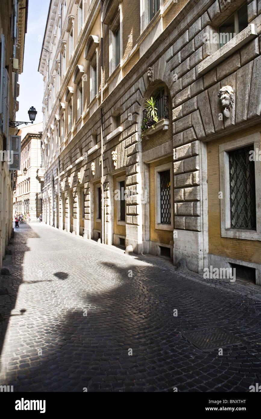 Italy, Rome, cobblestone street - Stock Image