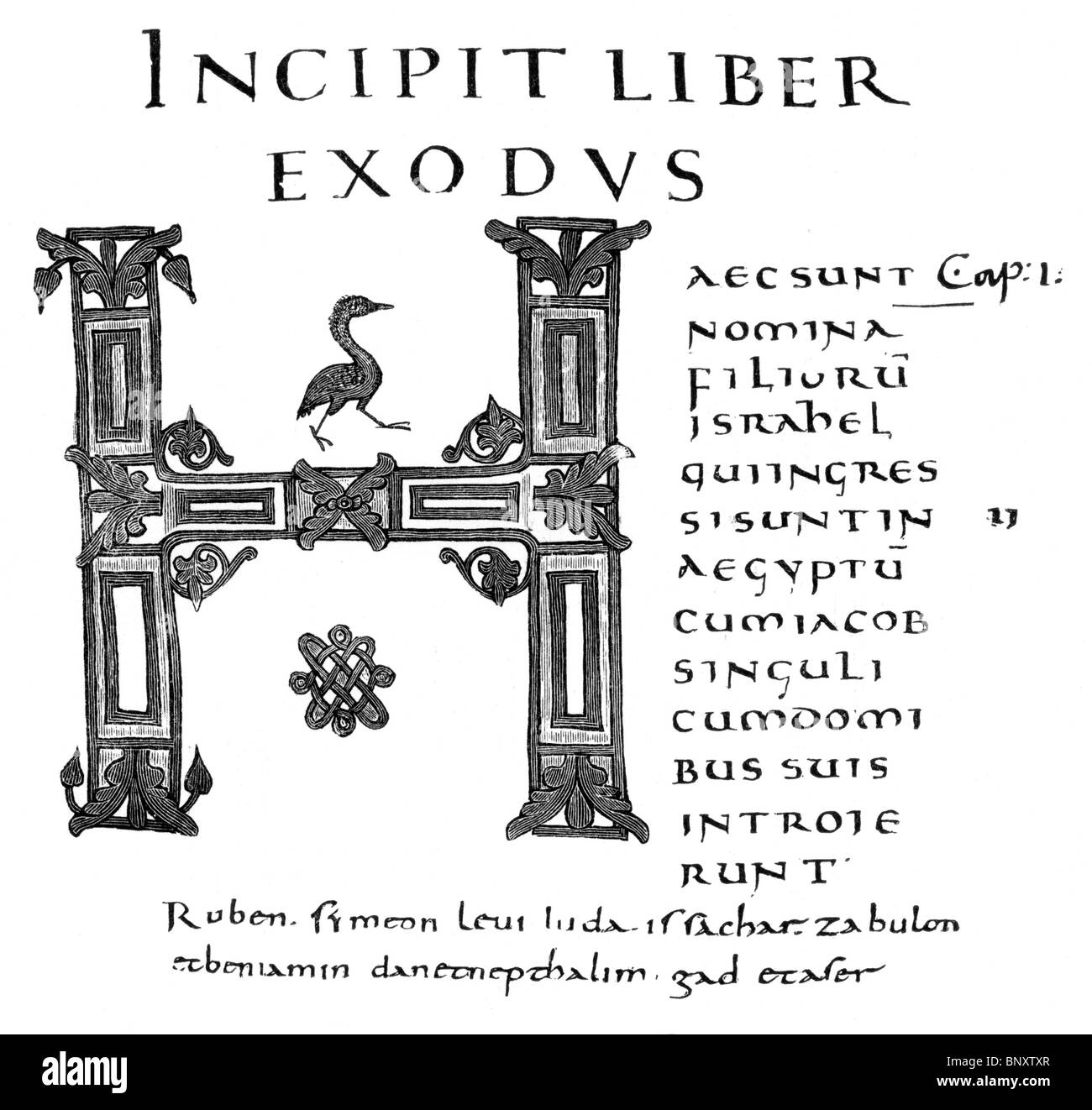 Black and White Illustration; Title page of the Book of Exodus; Alcuin's Bible; 8th century - Stock Image