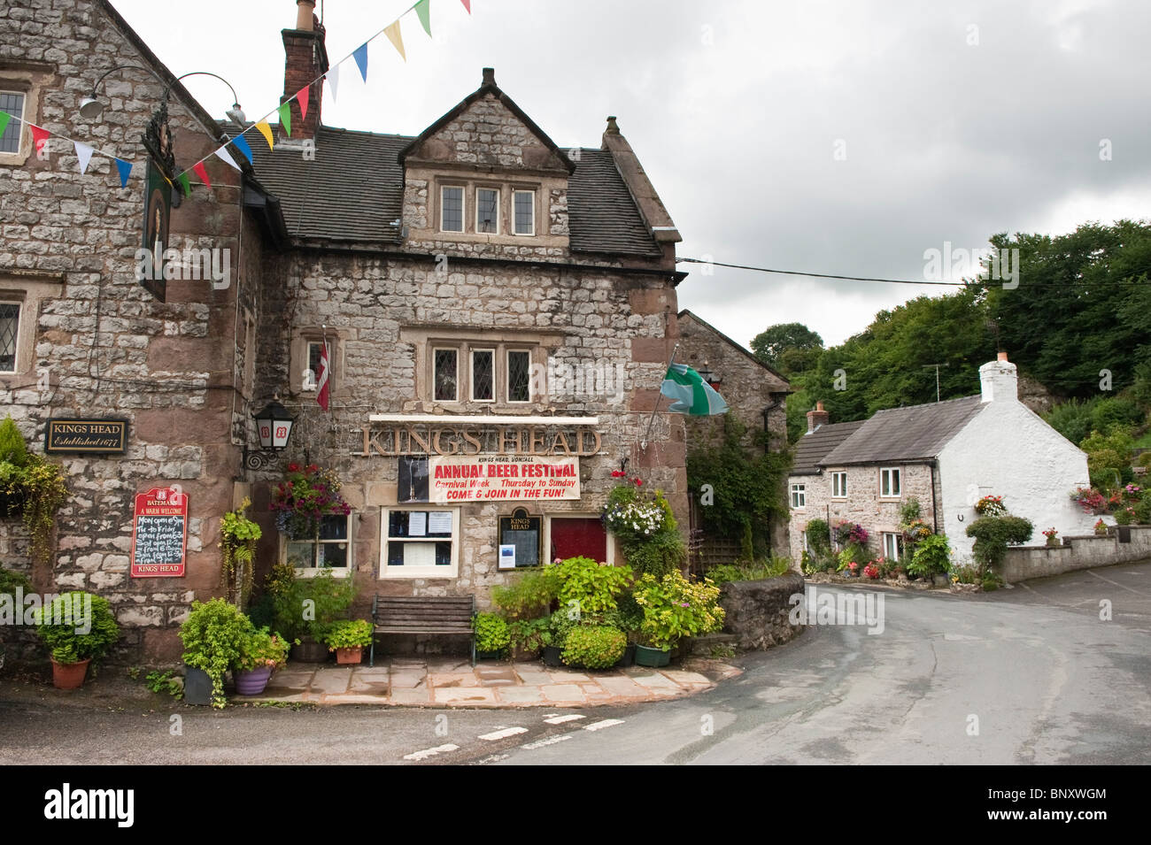 Kings head public house in Bonsall in the Peak District Derbyshire England, 'Great Britain','United - Stock Image