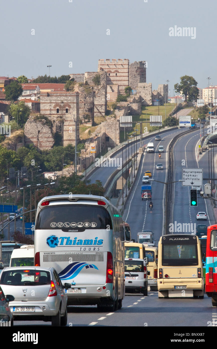 Old city walls and highway in Istanbul, Turkey - Stock Image