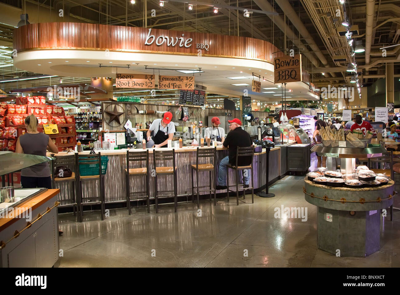 Food counter in Whole Foods Market Austin Texas USA - Stock Image