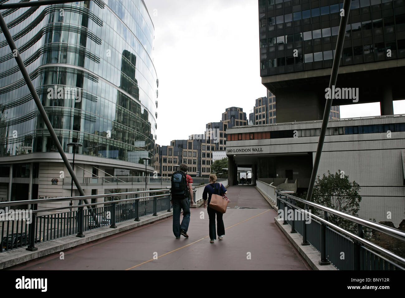 The high walkway along the London Wall close to the Barbican, London, UK - Stock Image