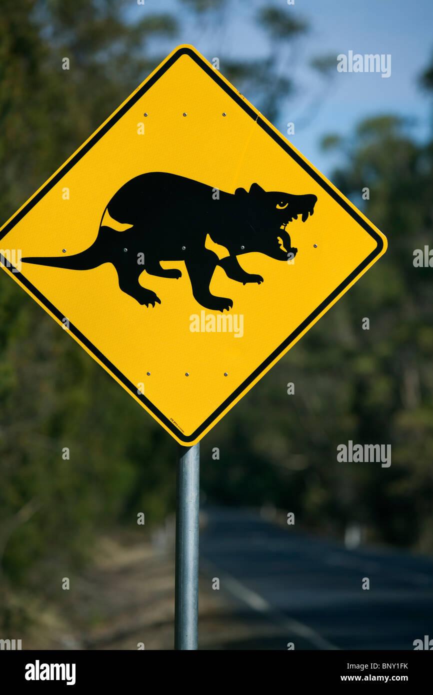 Tasmanian devil road sign. Tasmania, AUSTRALIA - Stock Image