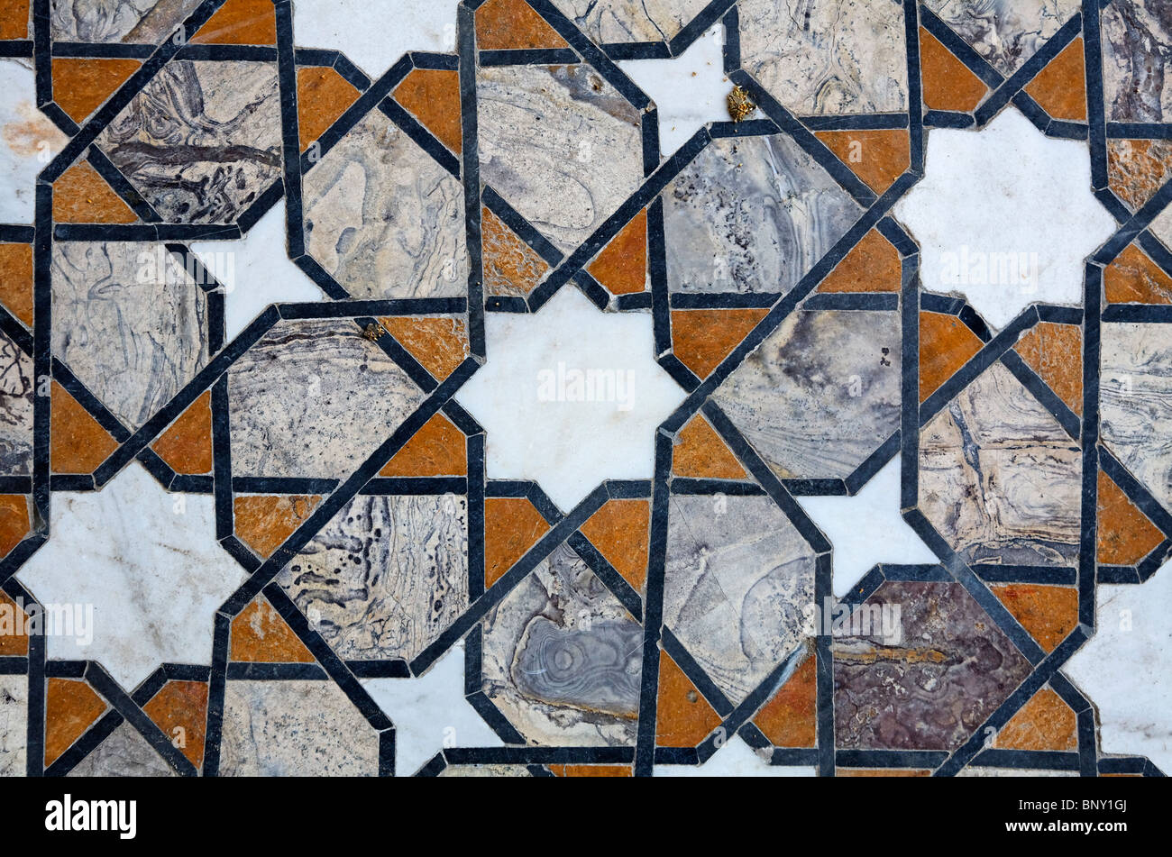 Pakistan Lahore Inlaid Marble Floor Design At Lahore Fort Stock