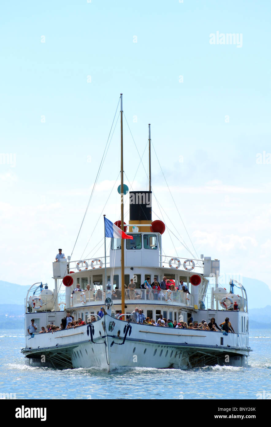 Passenger ferry, paddle steamer at Lausanne, Switzerland, Europe - Stock Image