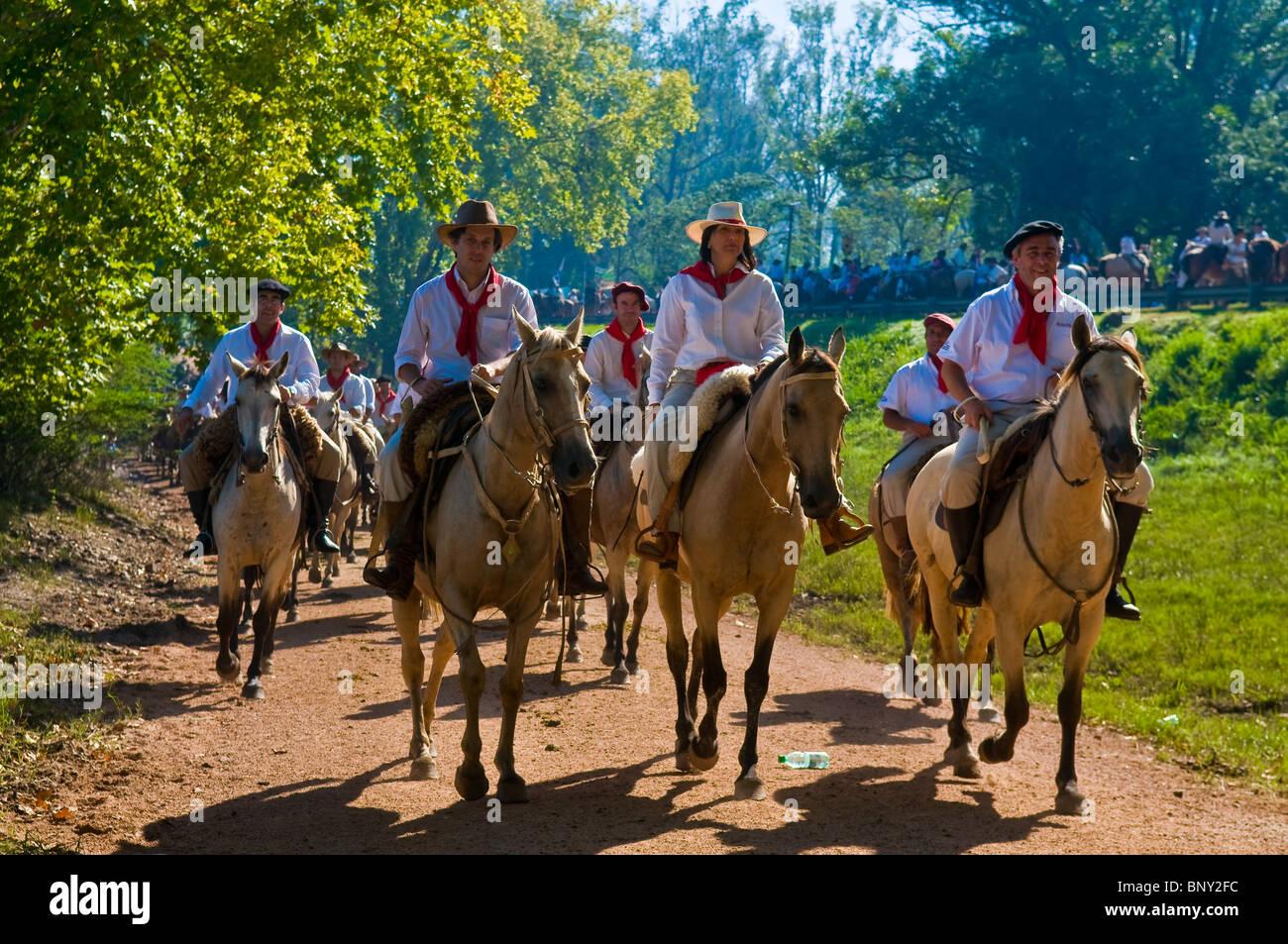 Participants in the annual festival Patria Gaucha in Tacuarembo Uruguay - Stock Image