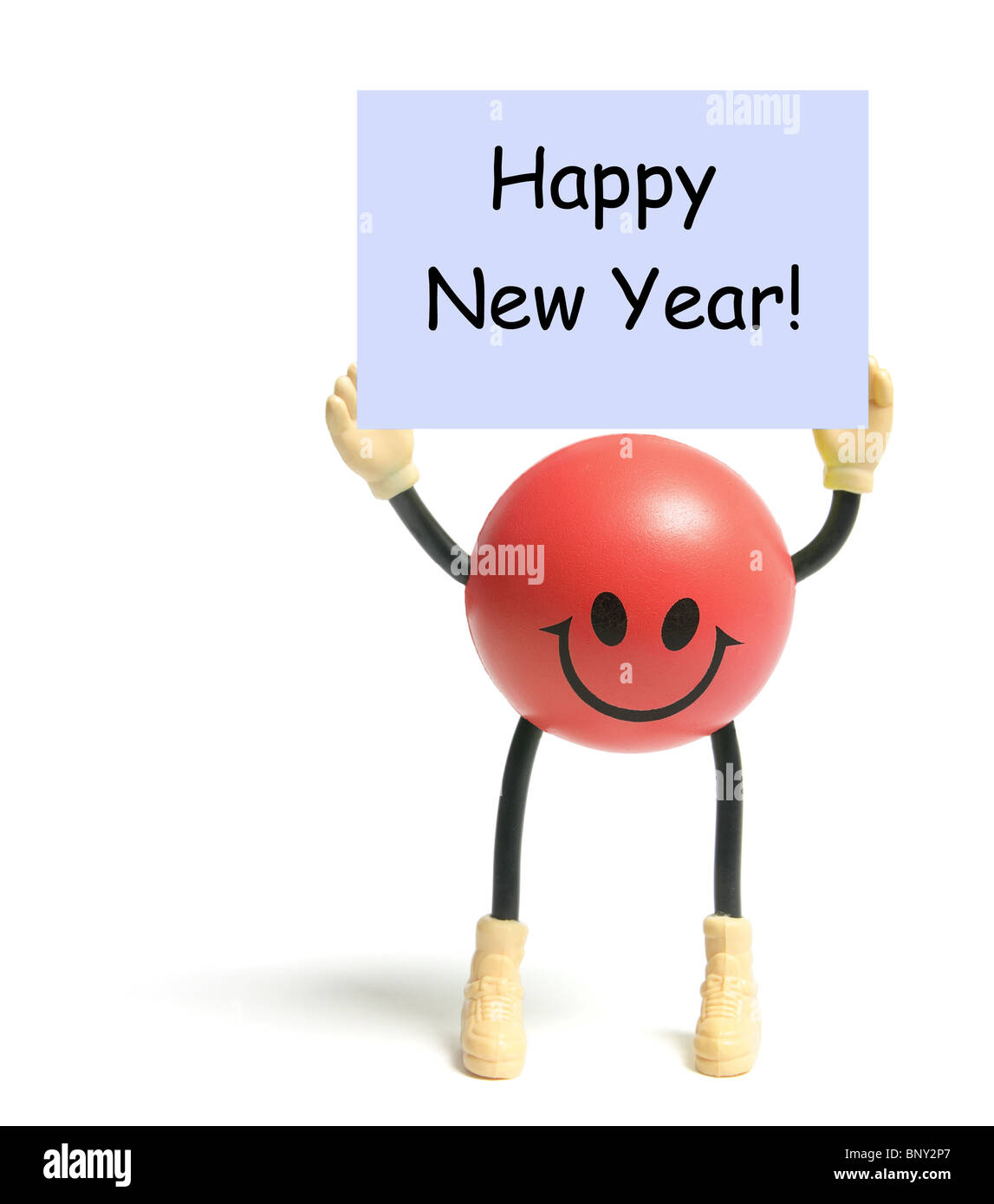 Smiley Toy with Happy New Year Greeting Stock Photo