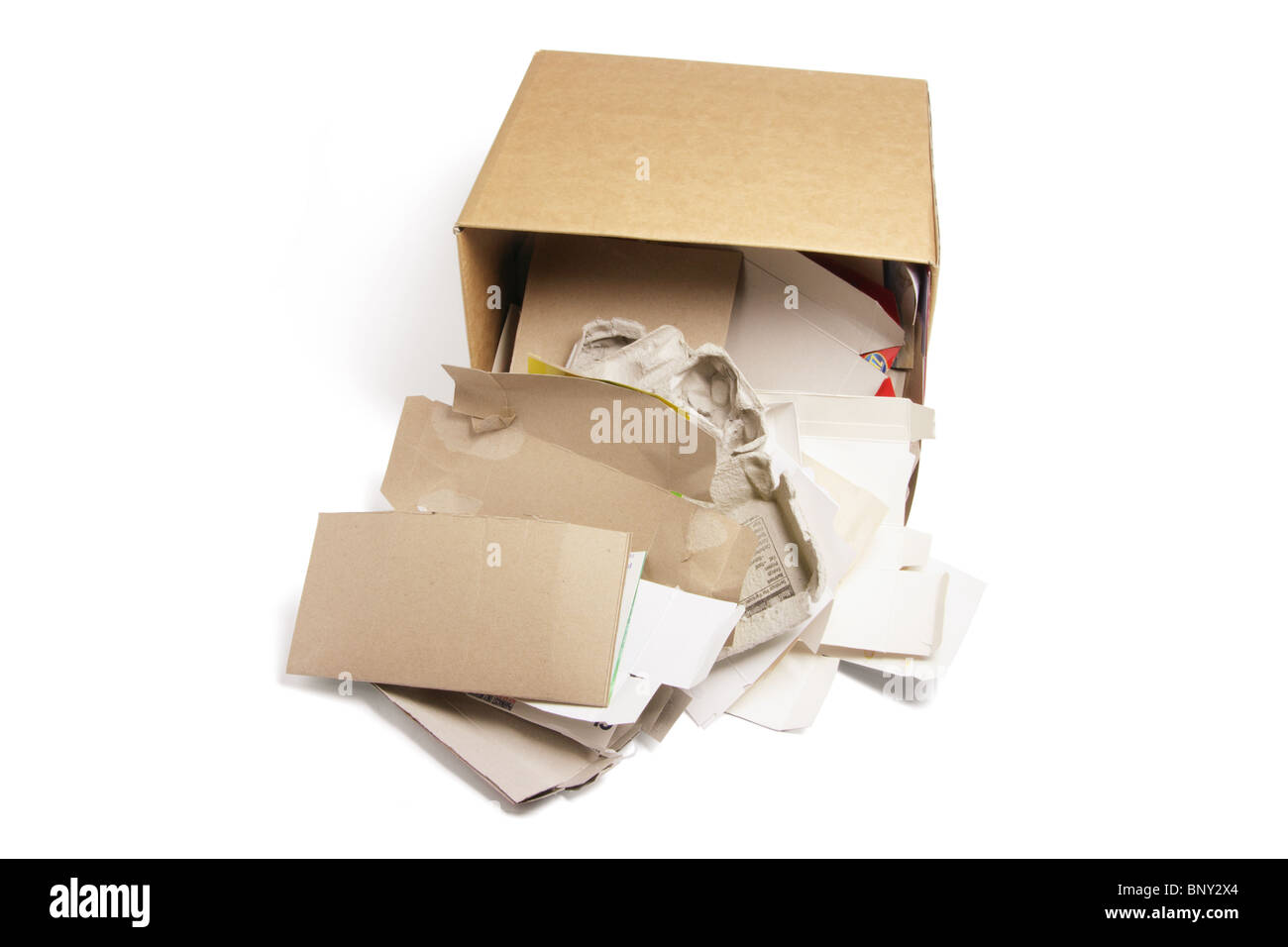 Waste Papers in Cardboard Box - Stock Image