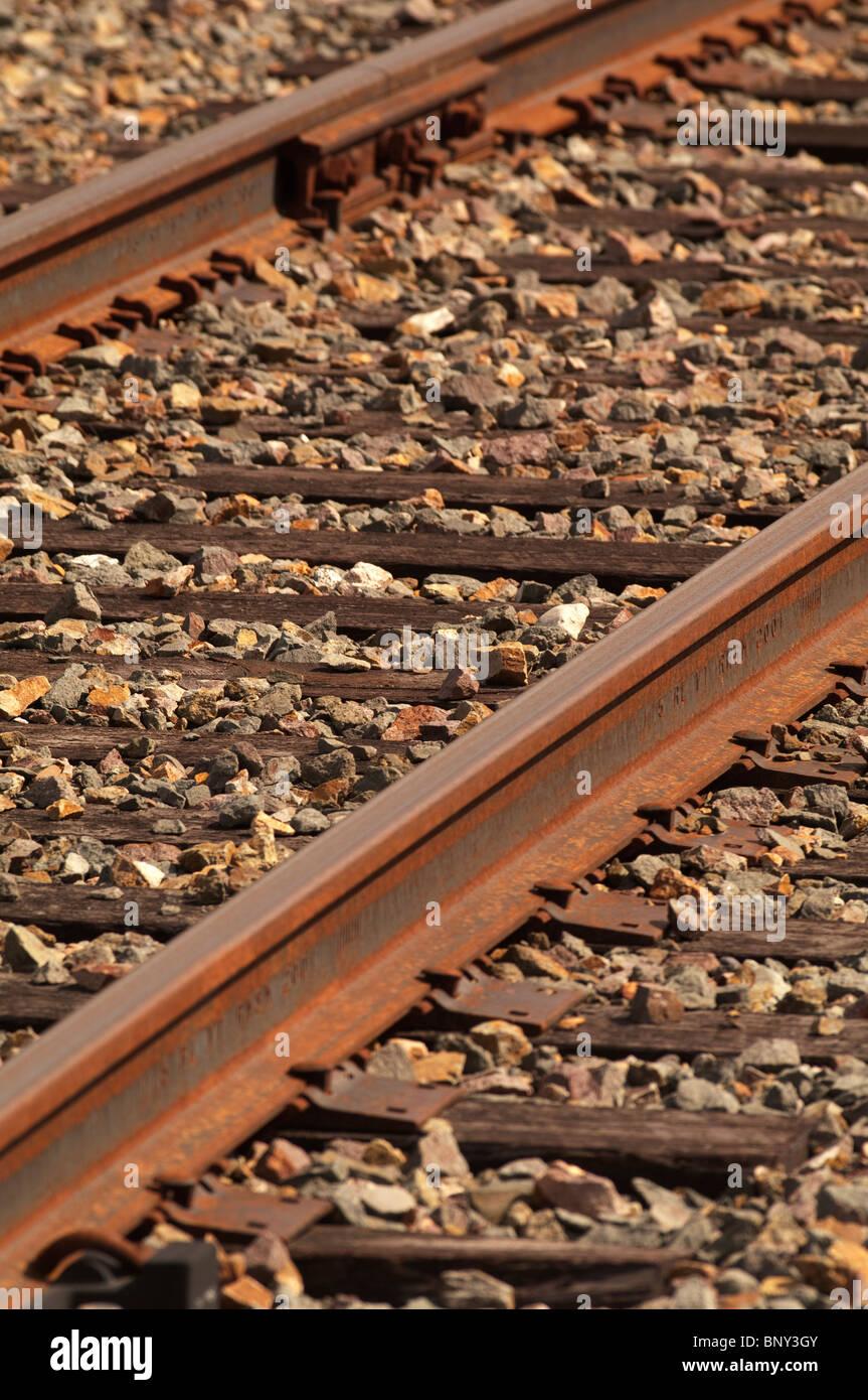 Train tracks in Alaska Stock Photo