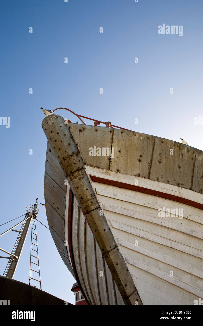 Boat in drydock, low angle view - Stock Image
