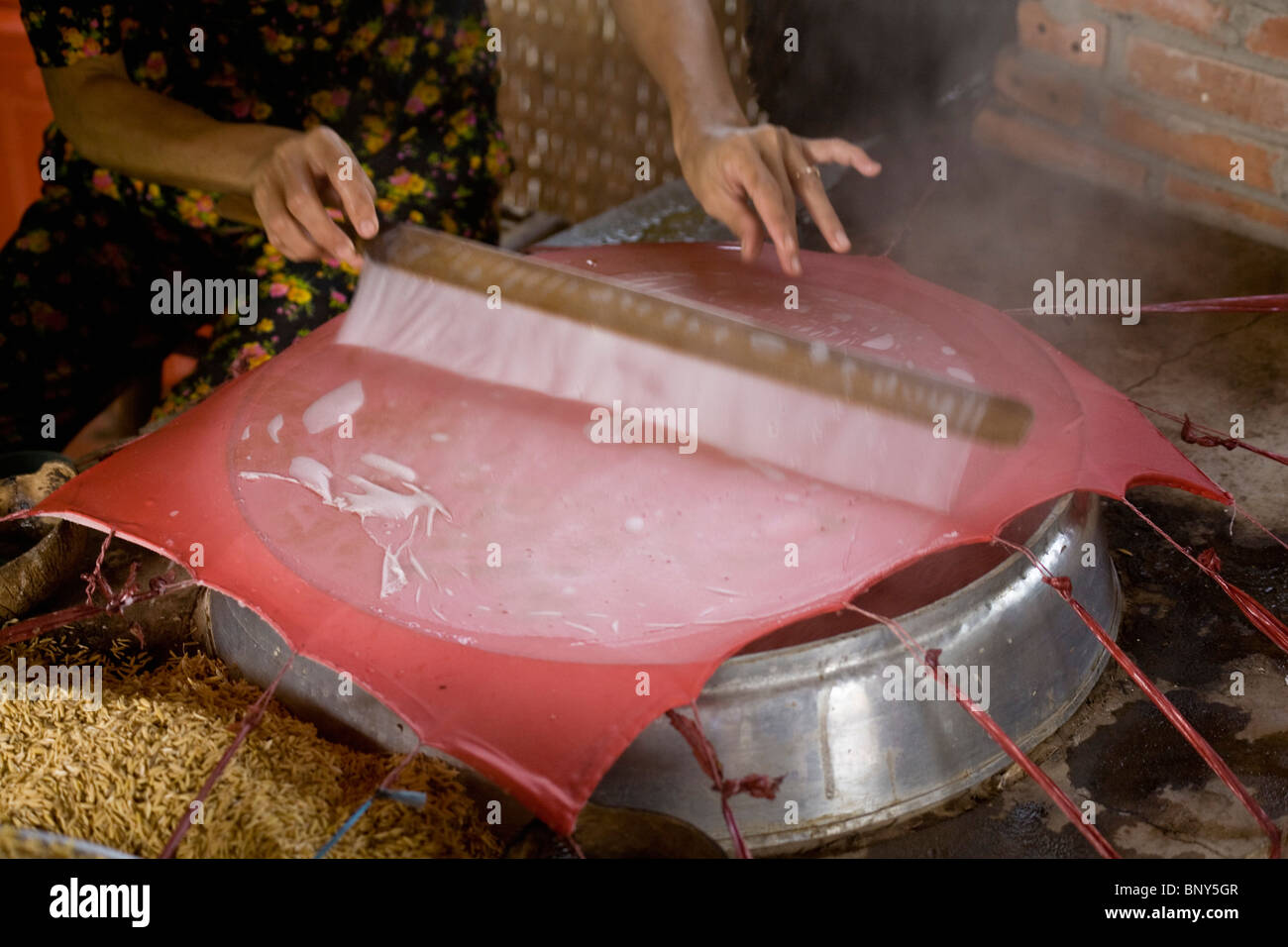 Steaming a sheet of rice paper - Stock Image