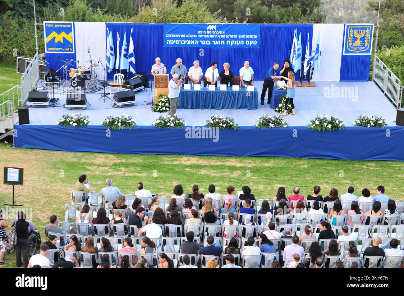 Israel, Haifa, The alumni and faculty members of the Haifa university during the graduation ceremony. June 2010 - Stock Image