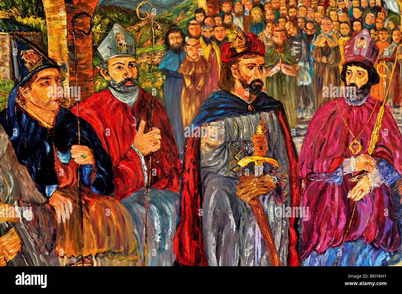 Spain, St. James Way: Medieval painting in the pilgrims hostage Albergue do Convento in Foncebadón - Stock Image