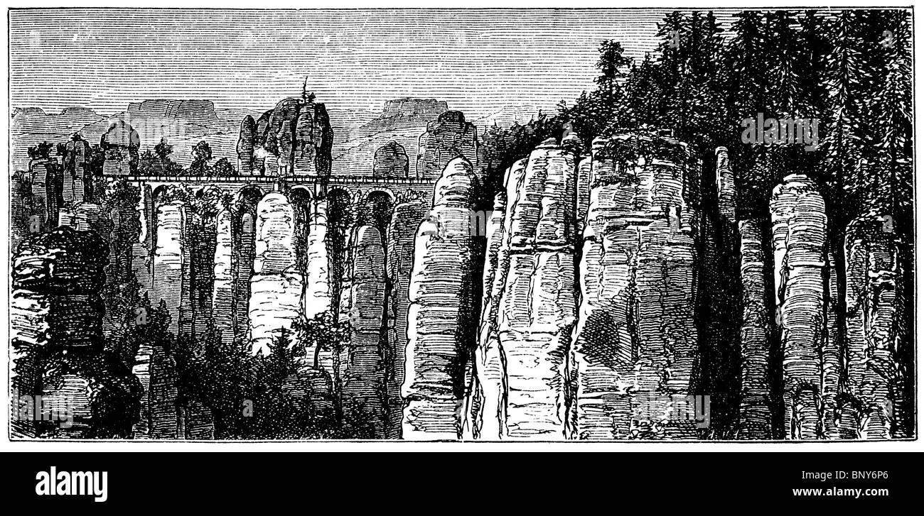 Ashlar sandstone: Bastion Bridge in Saxon Switzerland - Stock Image