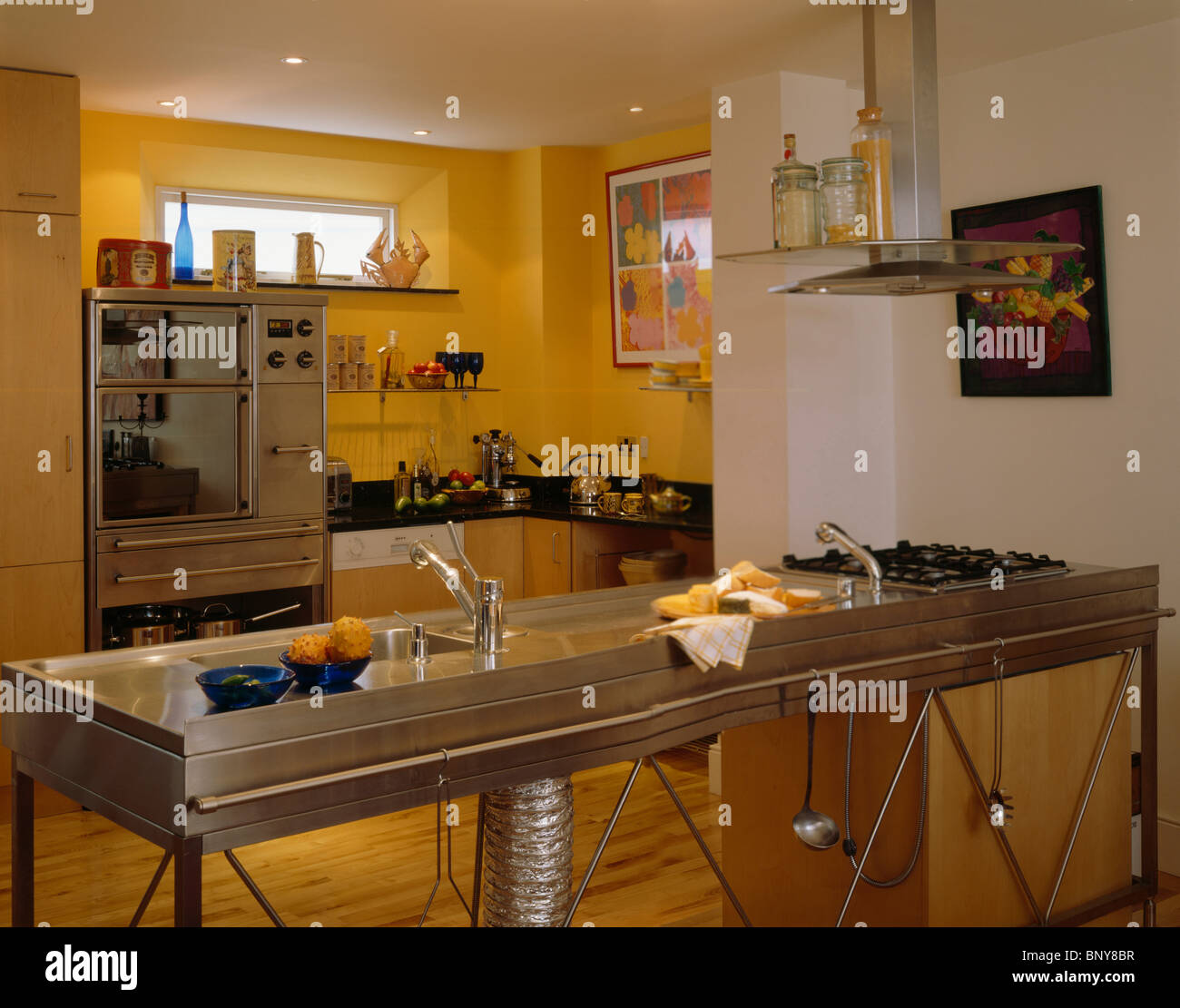 Stainless Steel Freestanding Double Sink And Hob Unit In Modern Stock Photo Alamy
