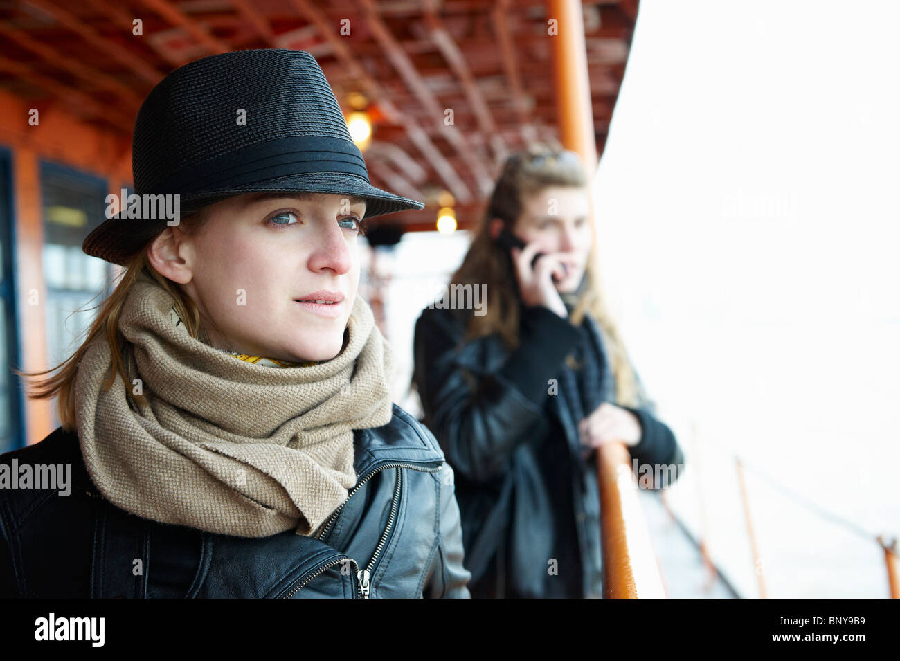 Women on a ferry boat - Stock Image