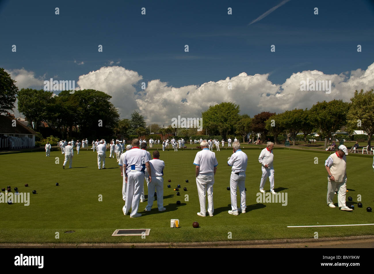 Bowls tournament in Beach House Park, Worthing, West Sussex, UK - Stock Image