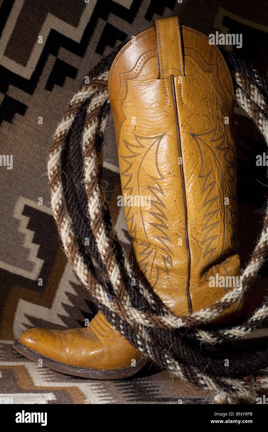 e491a0ad059 Western leather cowboy boot with hand made horsehair rope (aka Stock ...